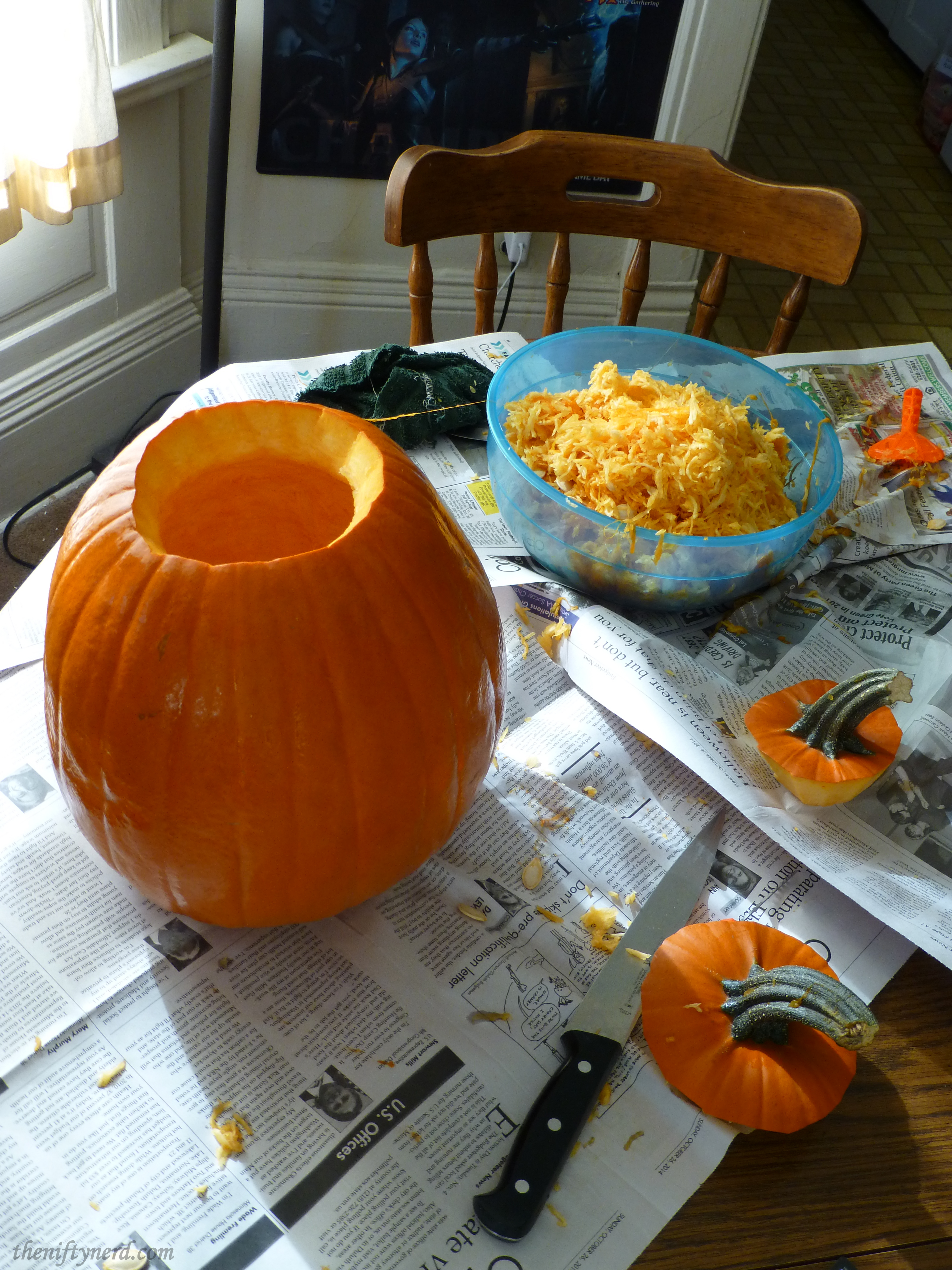 clearning out pumpkin guts