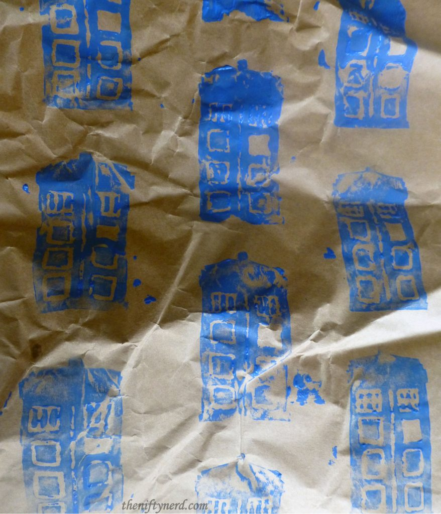 homemade Dr. Who Tardis wrapping paper