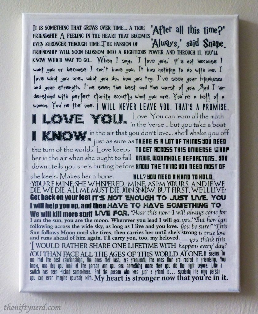 geeky love quote collage canvas