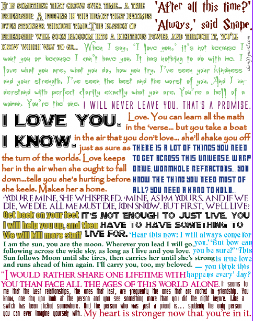 raindbow colored geeky love quote collage