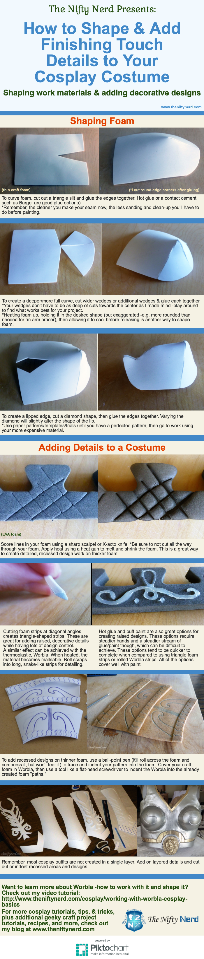 Infographic on adding cosplay costume details and shaping foam