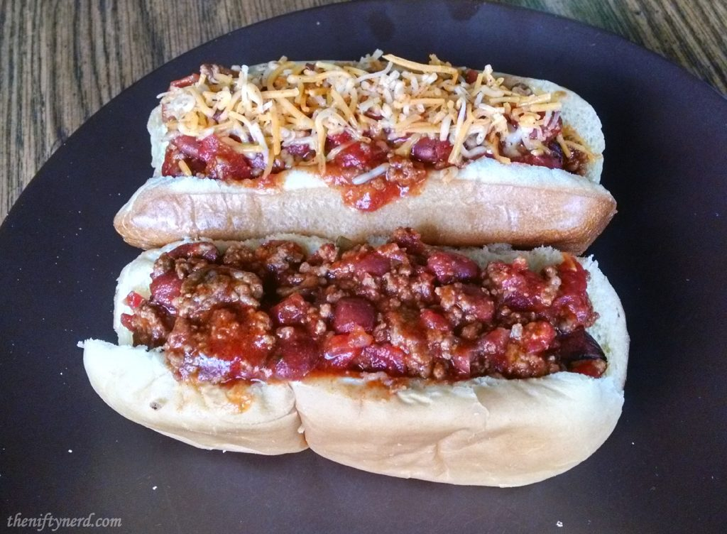 Sonic the Hedgehog inspired chili dogs
