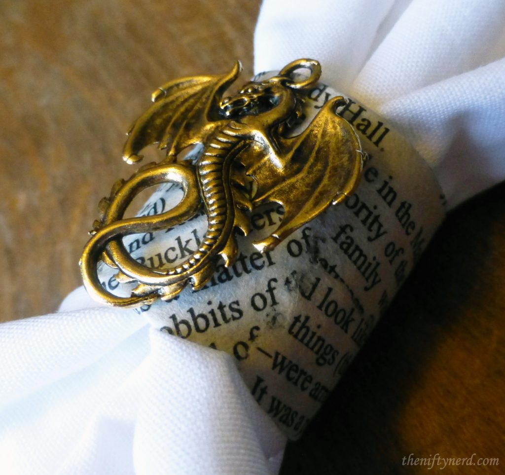 Lord of the Rings dragon and book page napkin ring