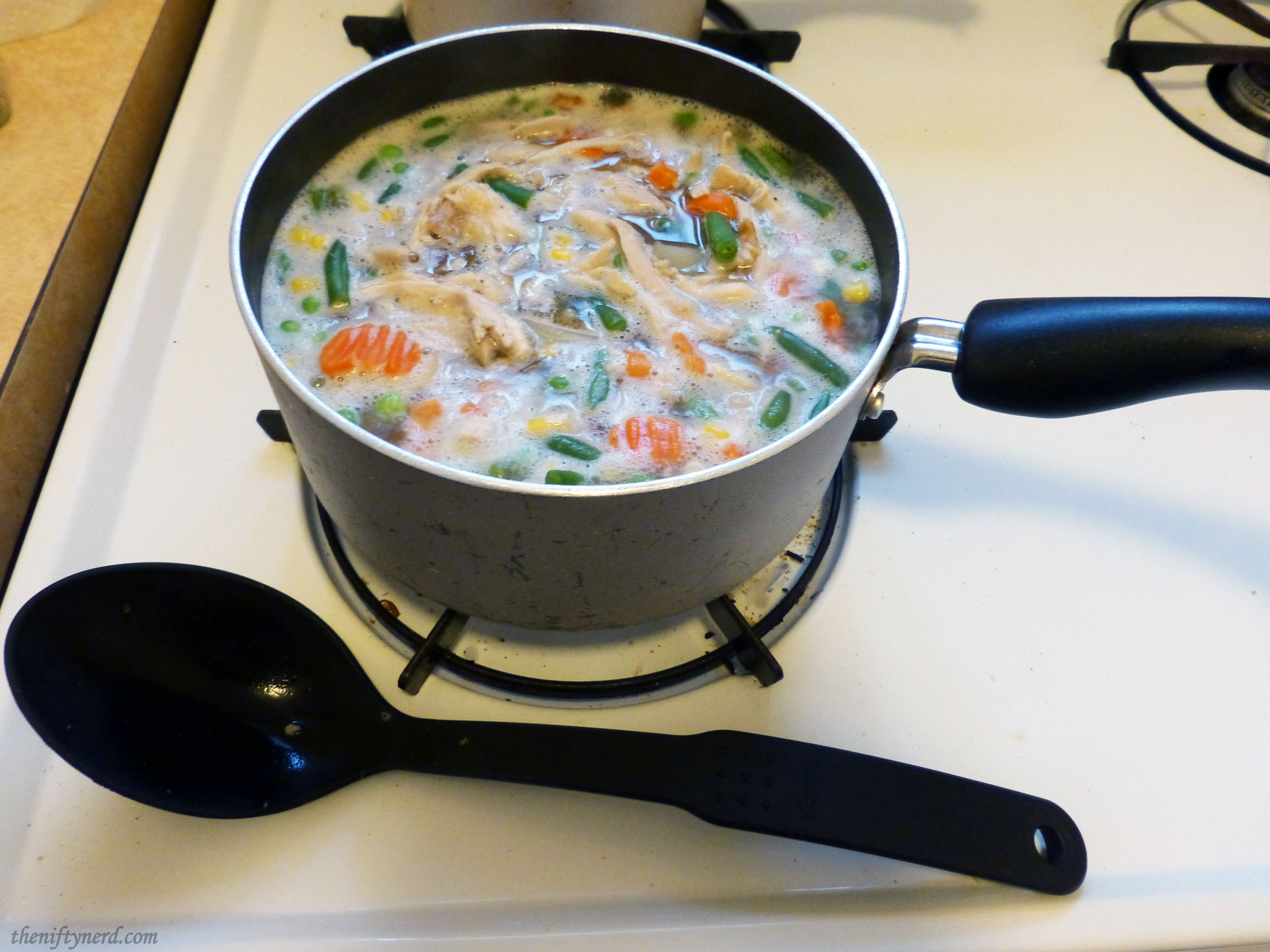 boiling chicken pot pie filling