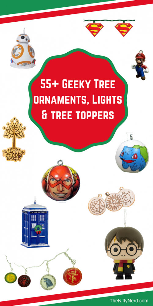 fictional fandom themed Christmas tree lights, ornaments, and tree toppers