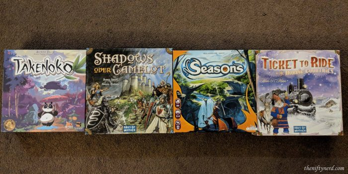 Takenoko, Shadows Over Camelot, Seasons, and Ticket to Ride board games
