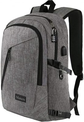 grey anti-theft backpack