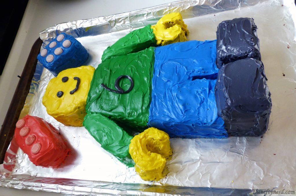 homemade Lego figure cake