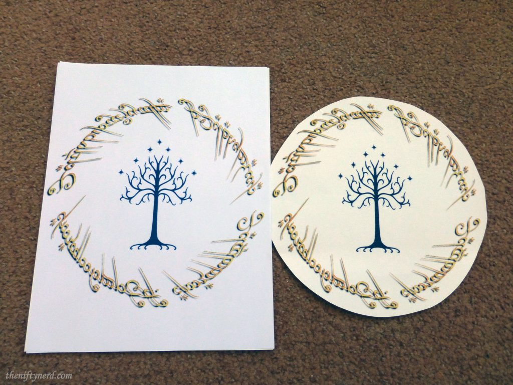 Tree of Gondor and One Ring inscription on transfer paper