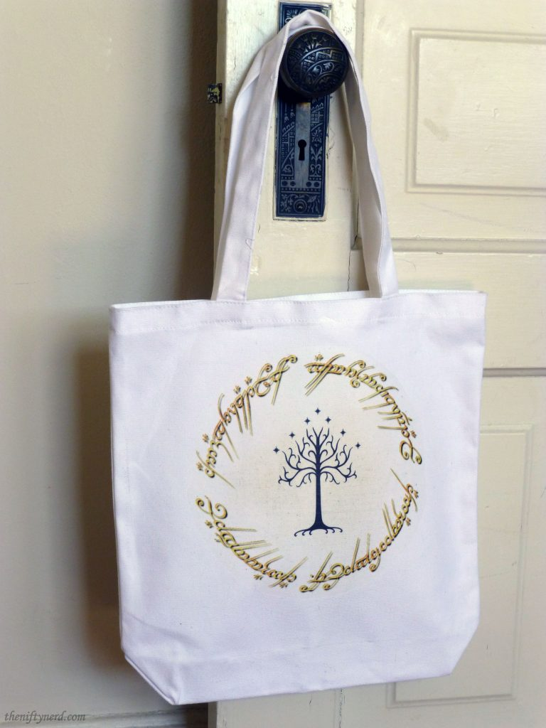 Homemade Lord of the Rings tote bag