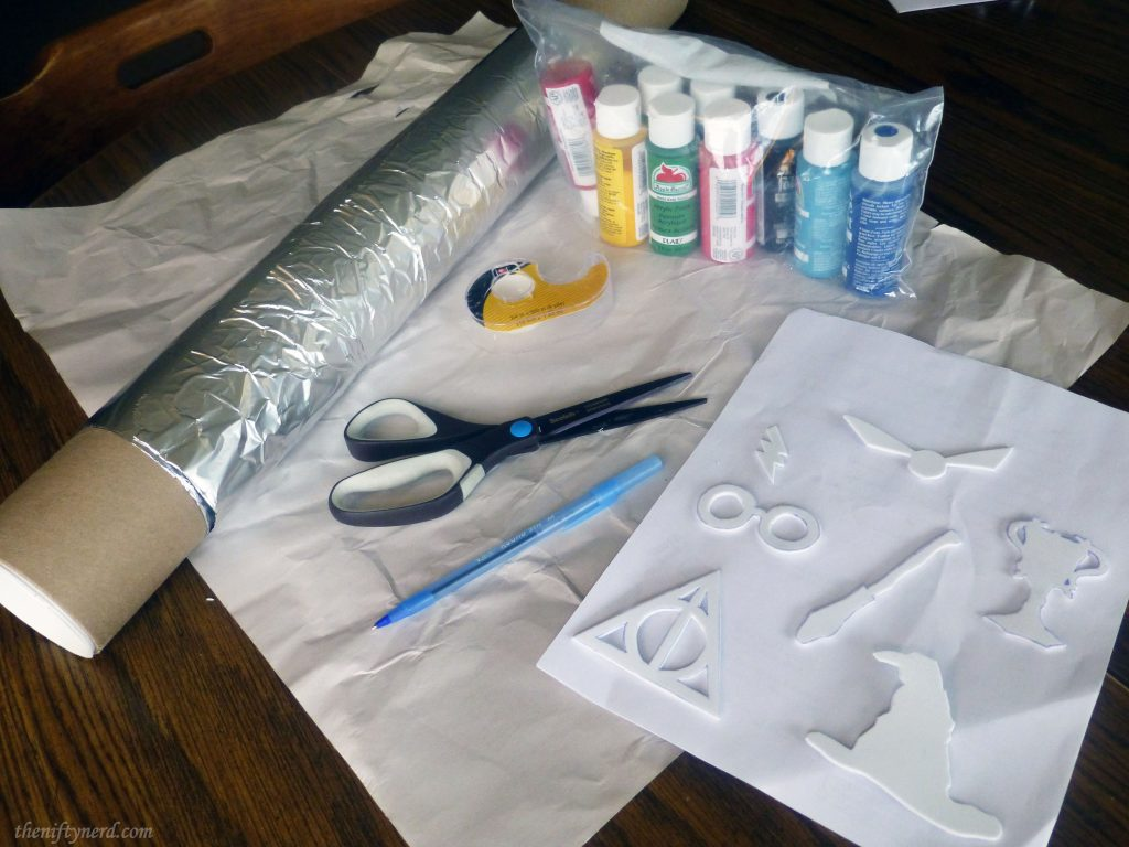 materials needed to make homemade Harry Potter wrapping paper