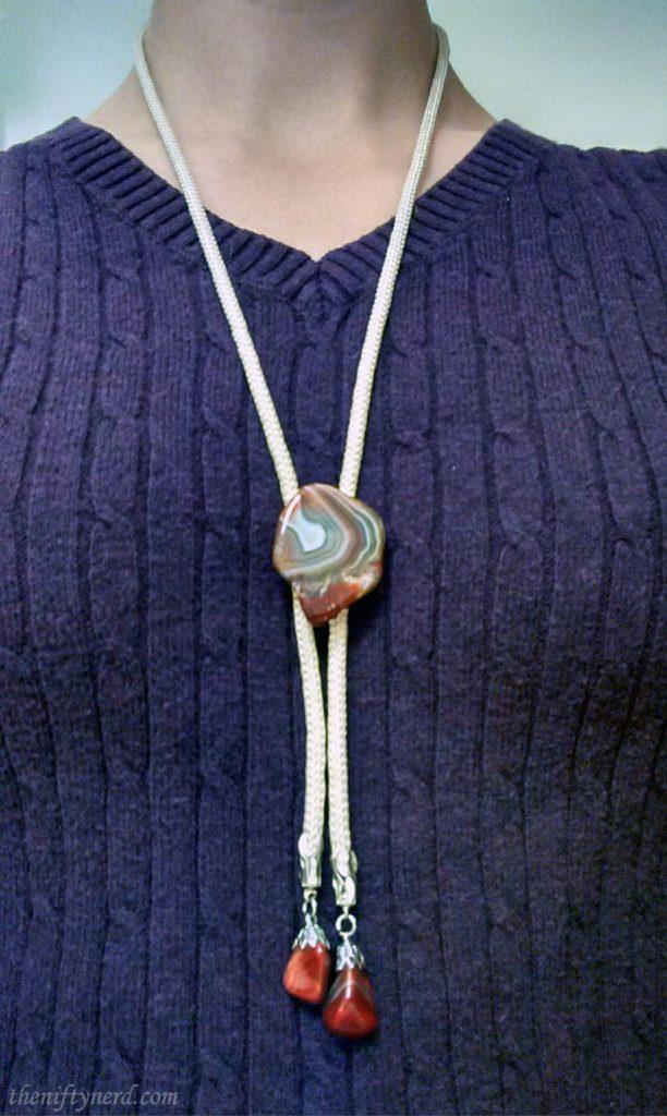 agate necklace bolo