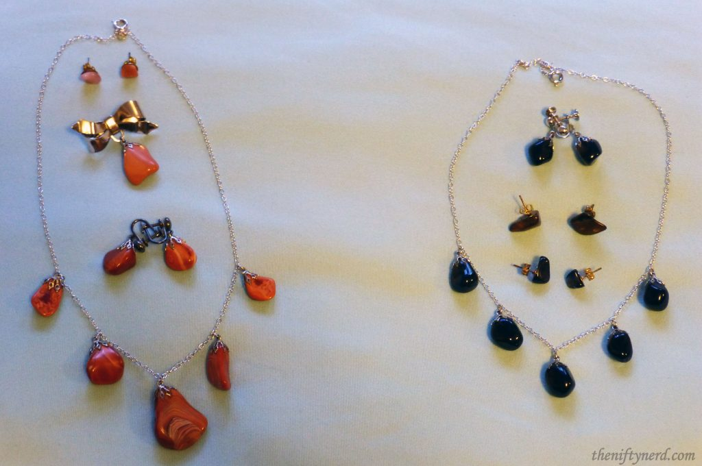 agate necklace, earring, and pin sets