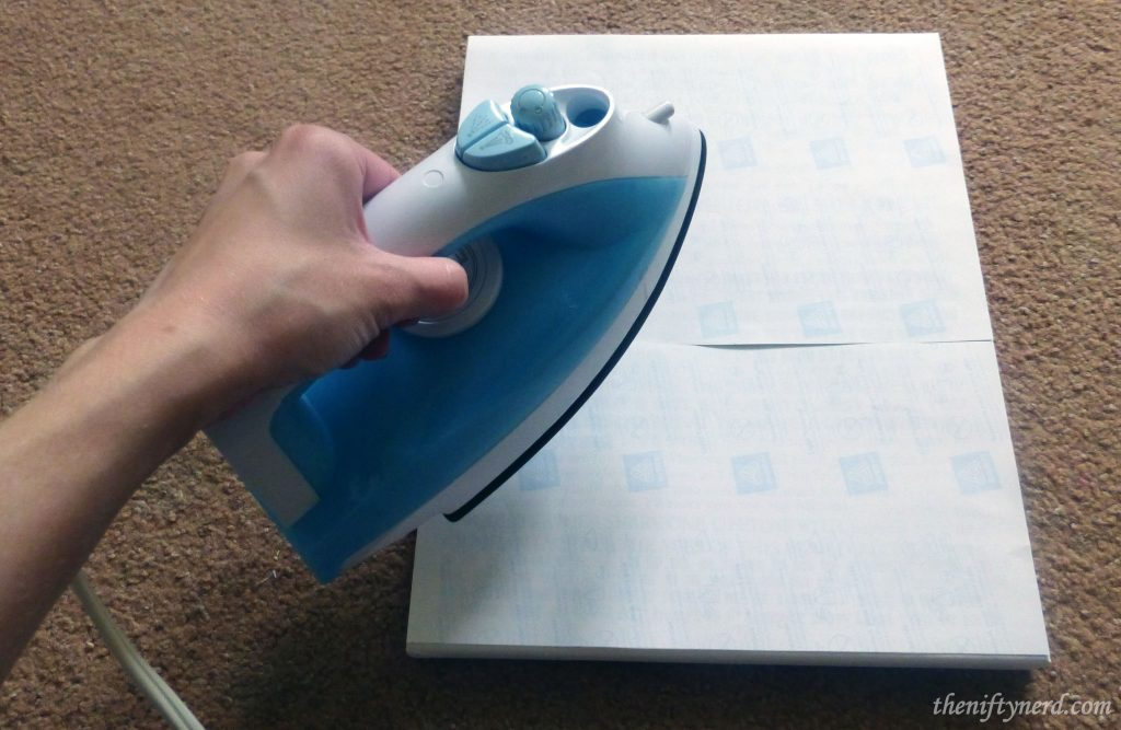ironing the iron-on transfer paper