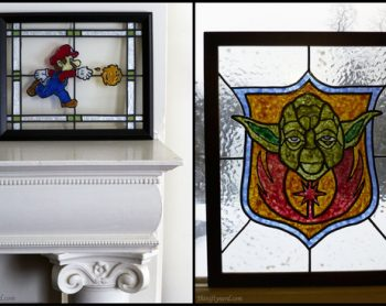 Mario and Yoda faux stained glass