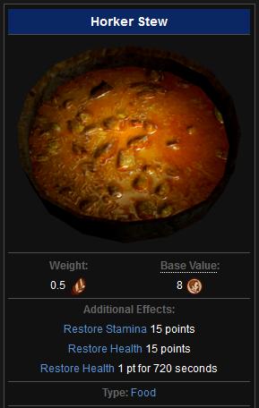 Skyrim horker stew stats