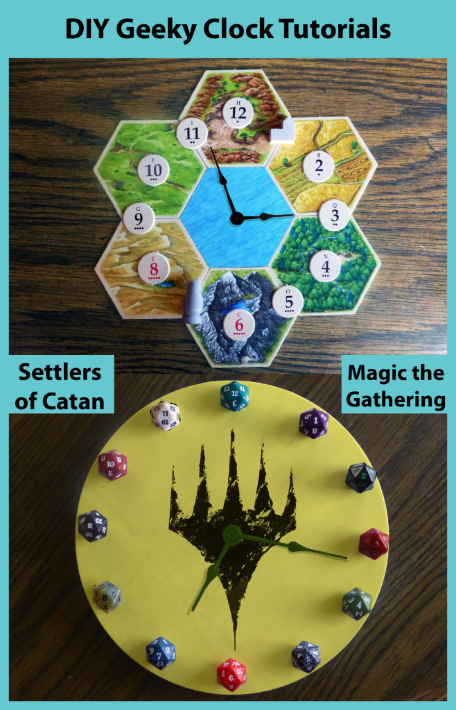 Settlers of Catan and Magic the Gathering geeky clock tutorial