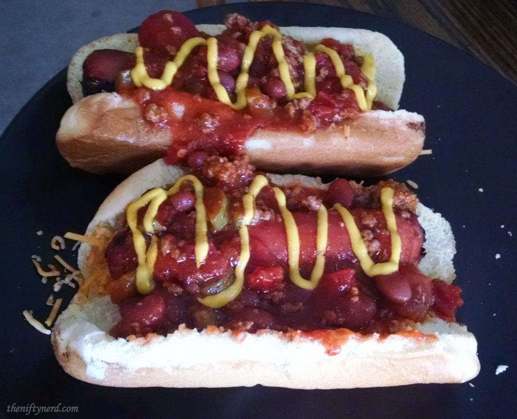 chili dogs with mustard