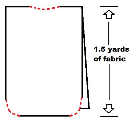 No Face costume fabric diagram