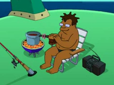 Hermes making Manwich on Futurama