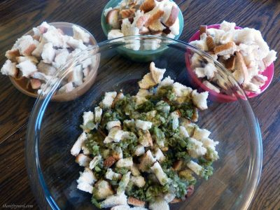 mixing ingredients for stuffing