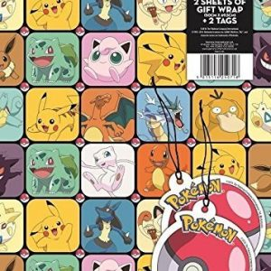 Pokemon gift wrap with gift tags