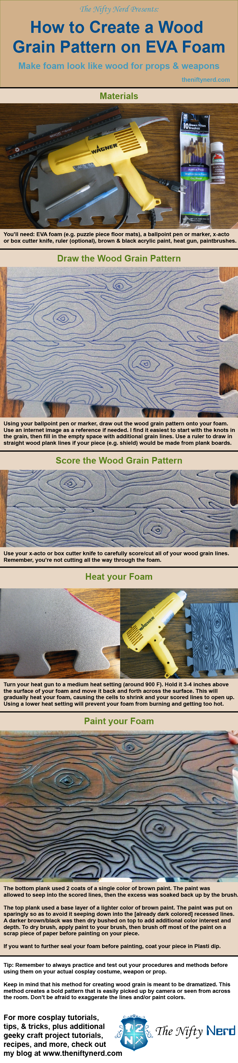 Infographic tutorial for creating a wood grain effect on foam