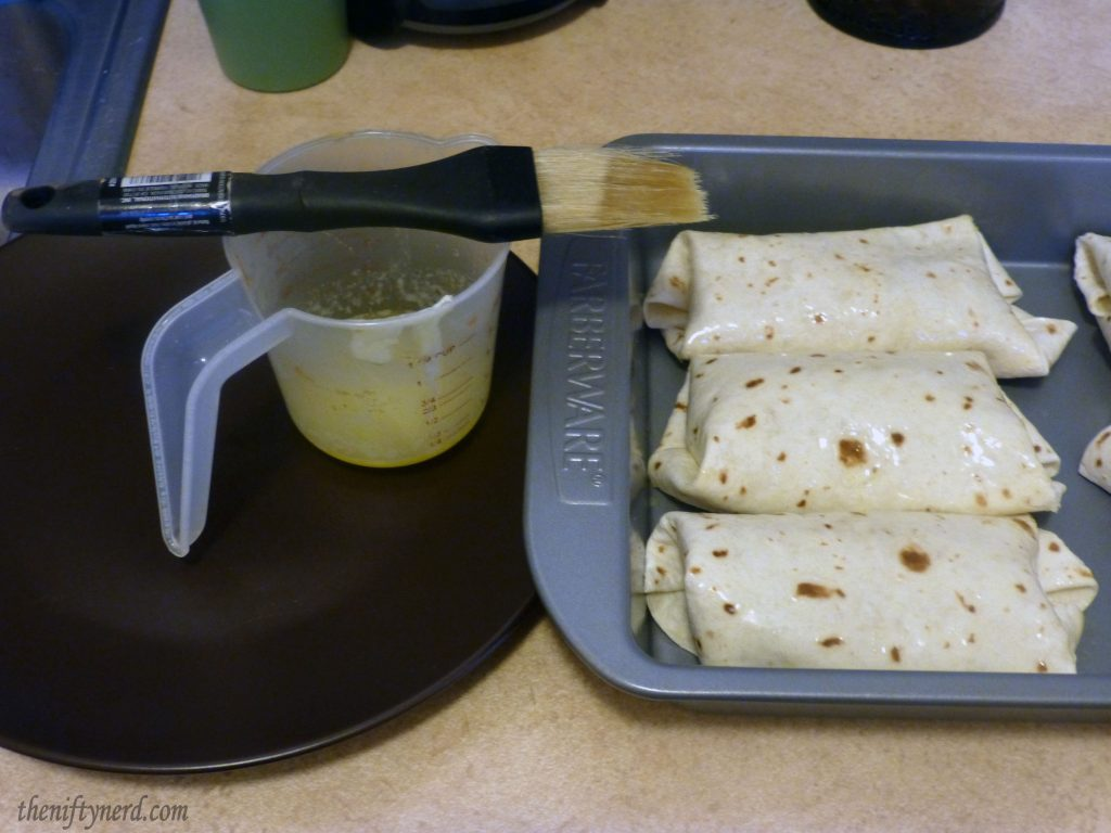 Basting chimichangas with butter