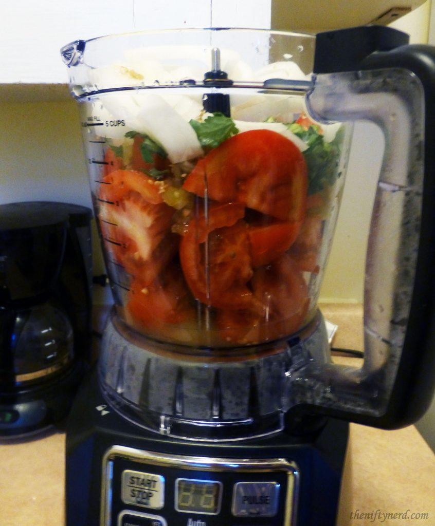 Using a Ninja to blend fresh vegetables