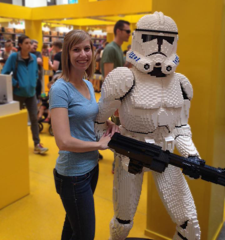 Jessica with a Lego Storm Trooper at the Mall of America