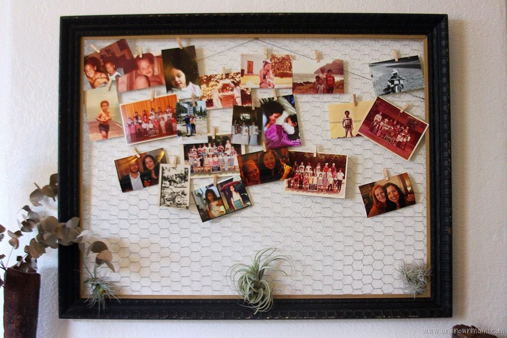 framed chicken wire display hanger