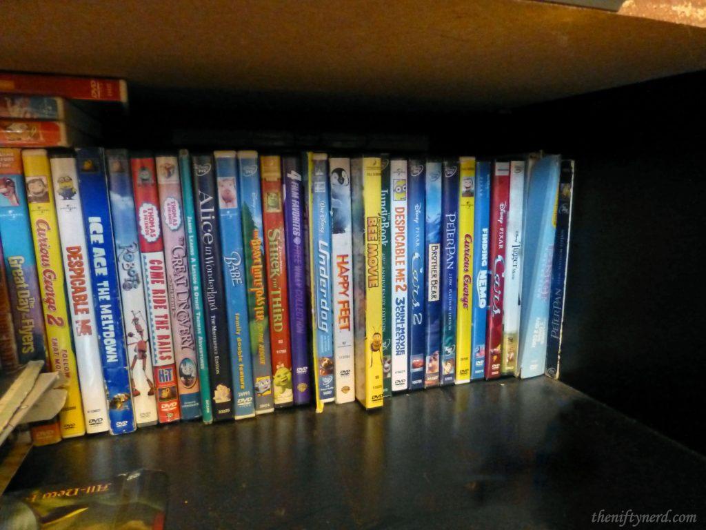 Shelf full of kids DVDs