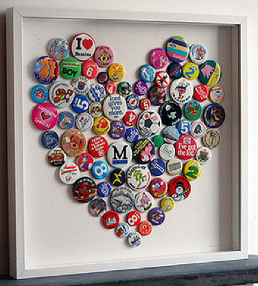 pinback button heart