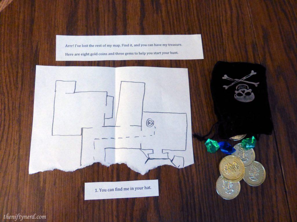 pirate treasure hunt starting clue, map, and money