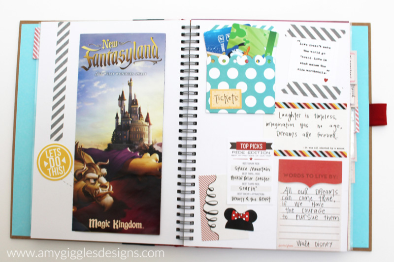 Ticket and badge scrapbook