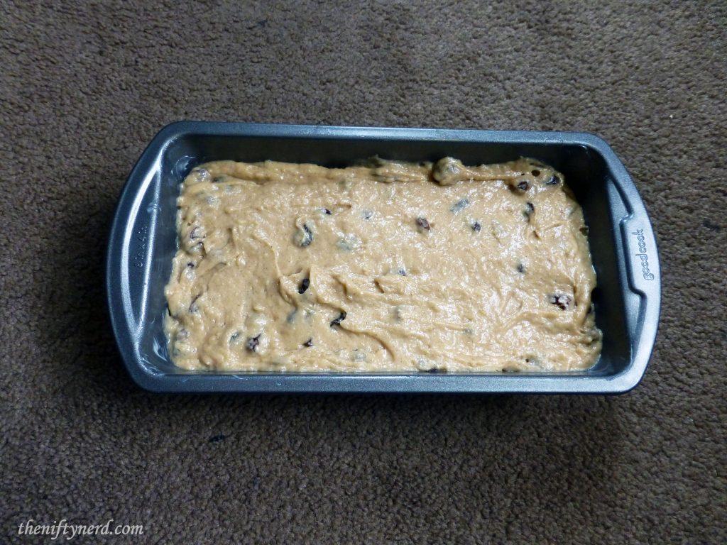 Prepping to Bake Raisin Nut Bread