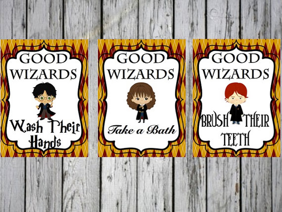 harry potter bathroom art print set