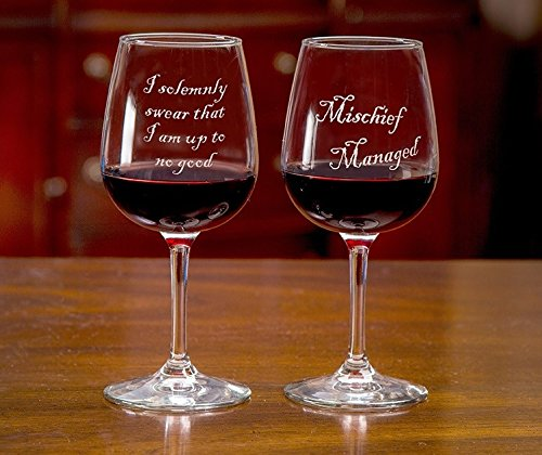 mischief managed wine glass set