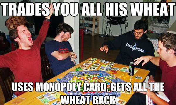 Settlers of Catan monoply card joke meme