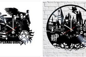 Supernatual and Harry Potter Clocks Made from Vinyl Disks