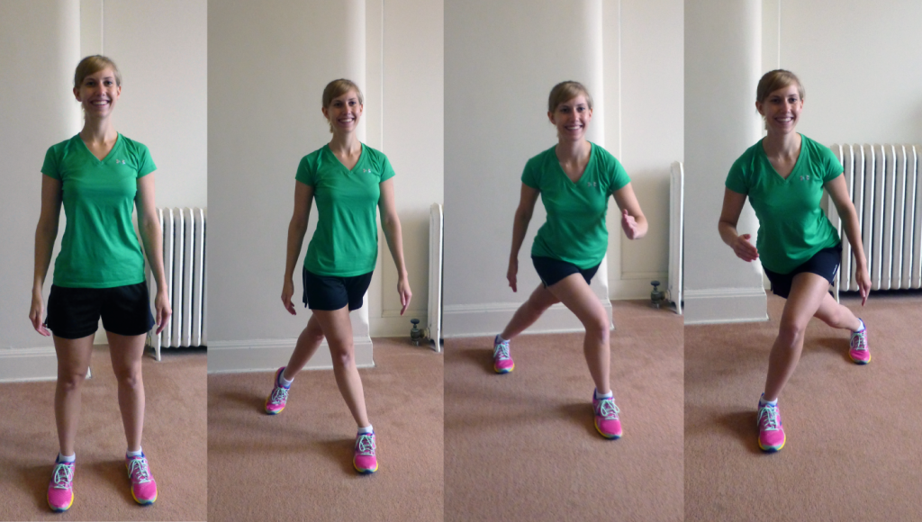 demonstrating a skater exercise move
