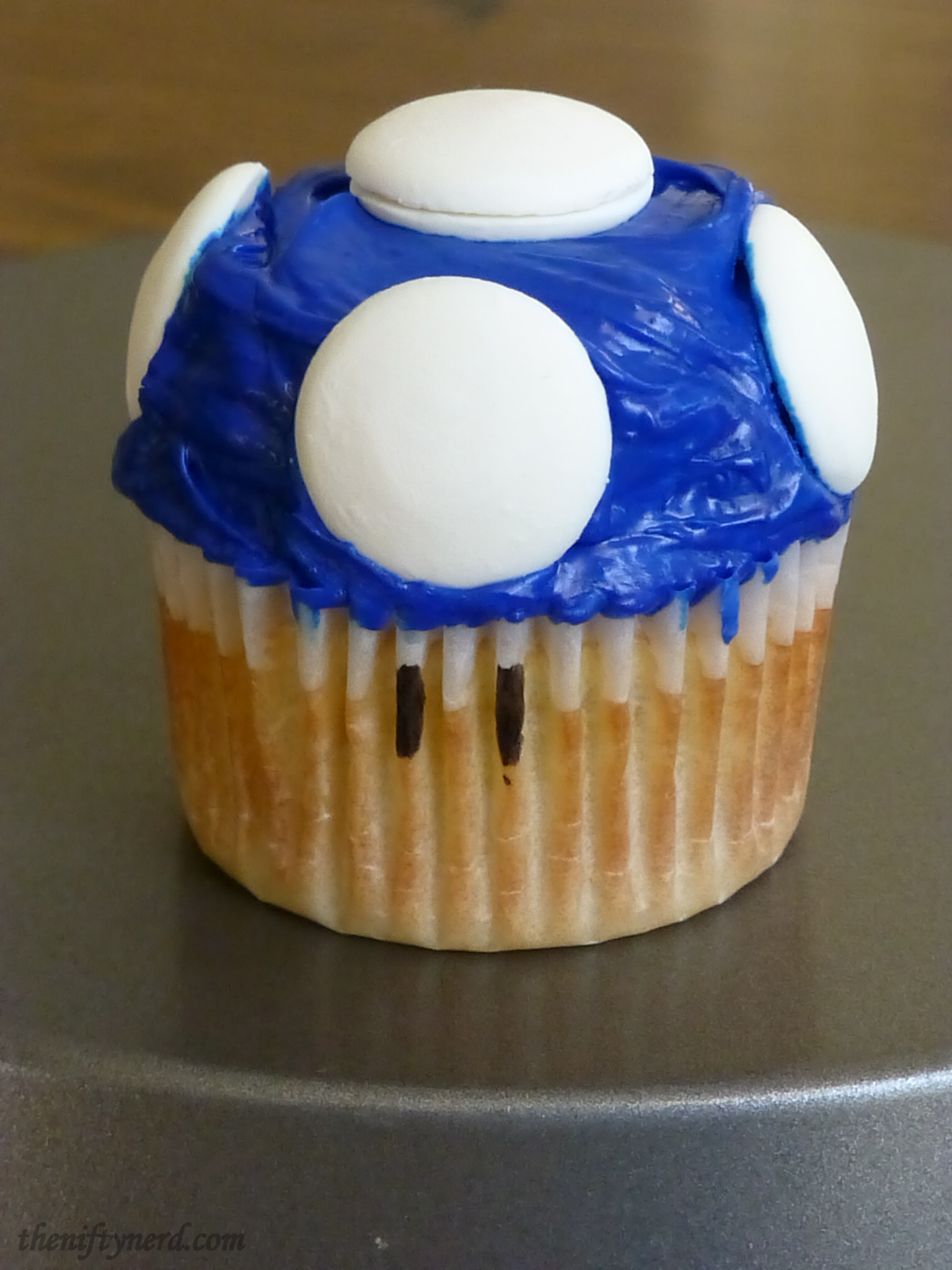 blue mushroom cupcake