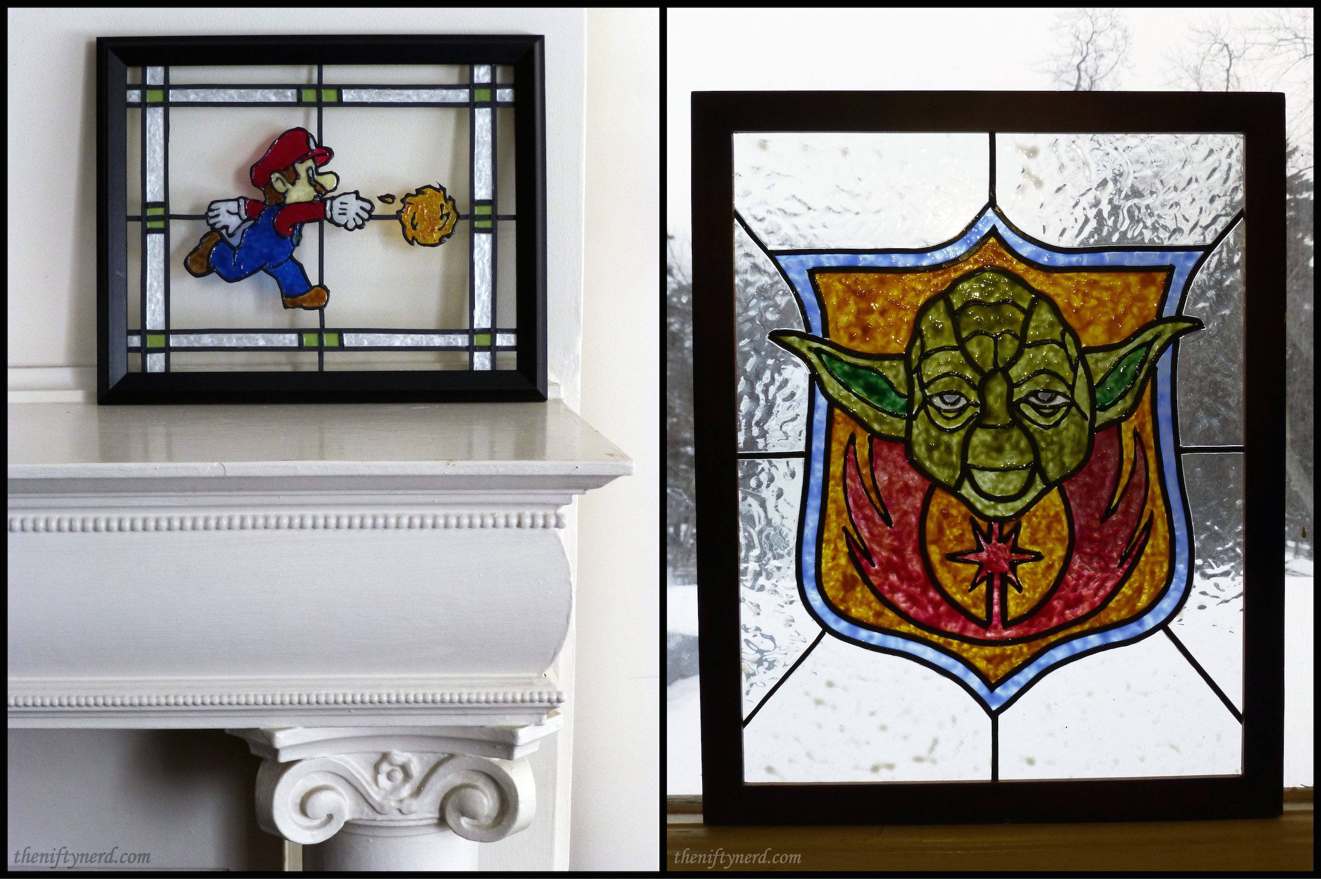 Mario and Yoda stained glass