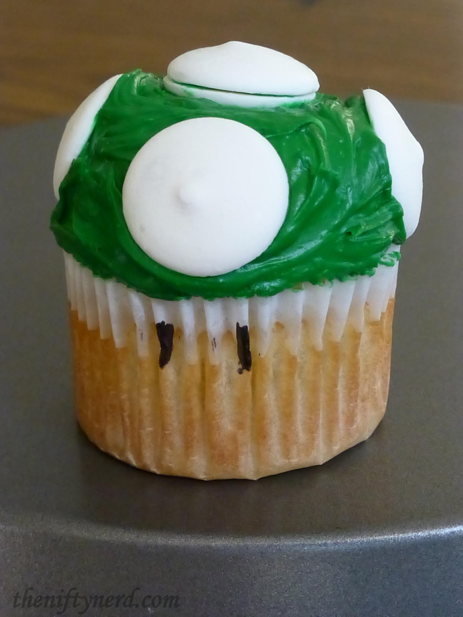 green 1UP Mario mushroom cupcake