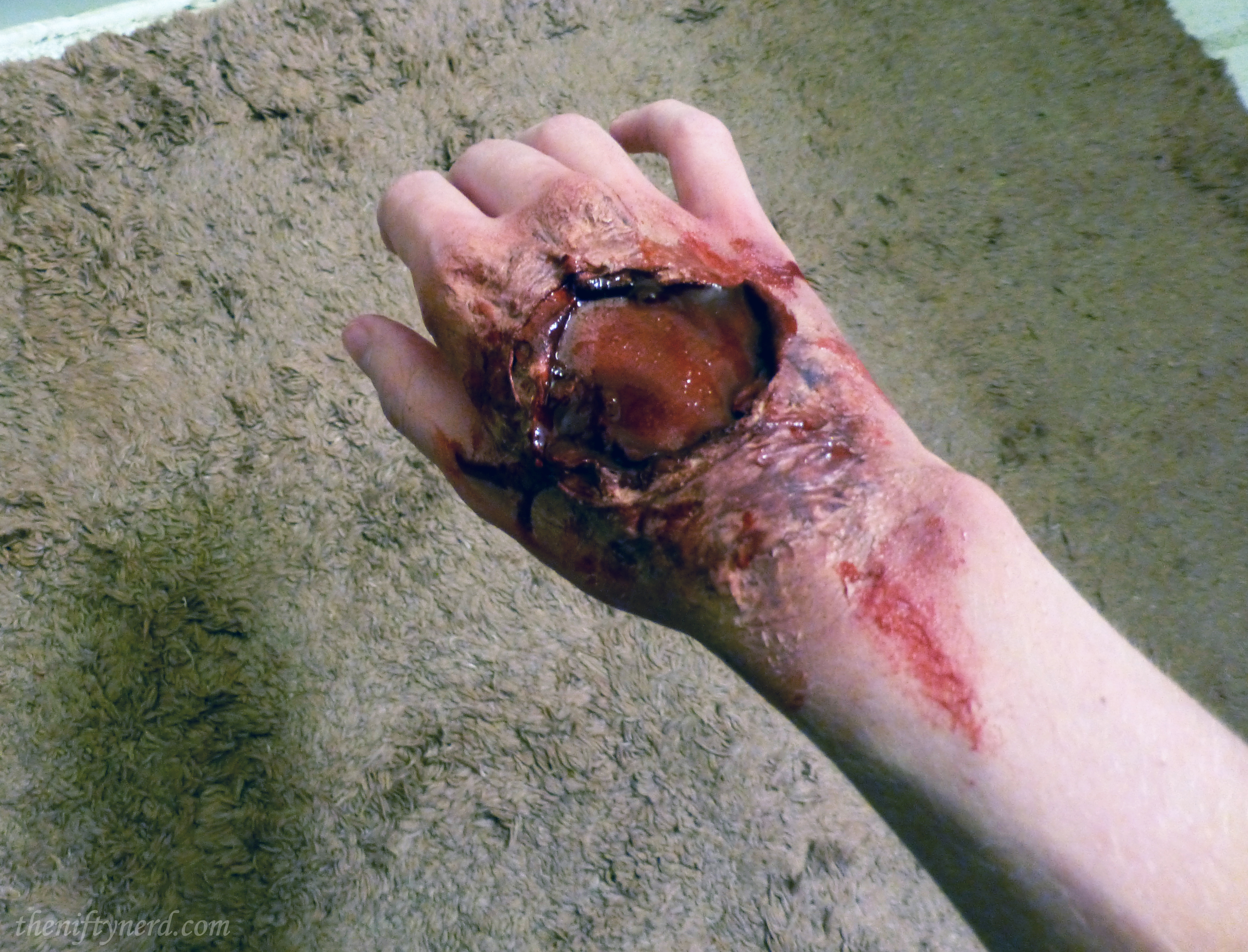 gory hand wound makeup