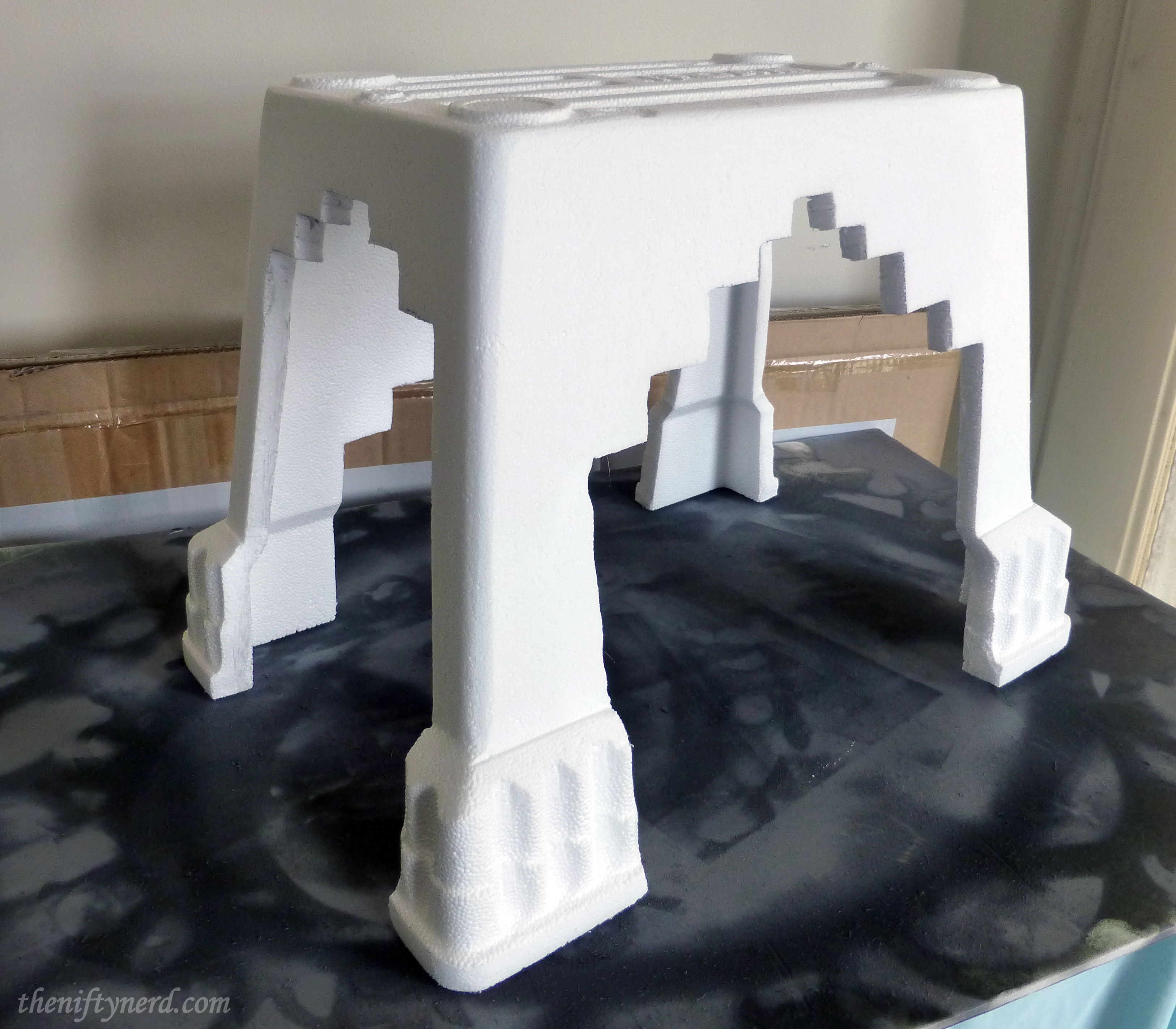 creating chair legs in a foam cooler