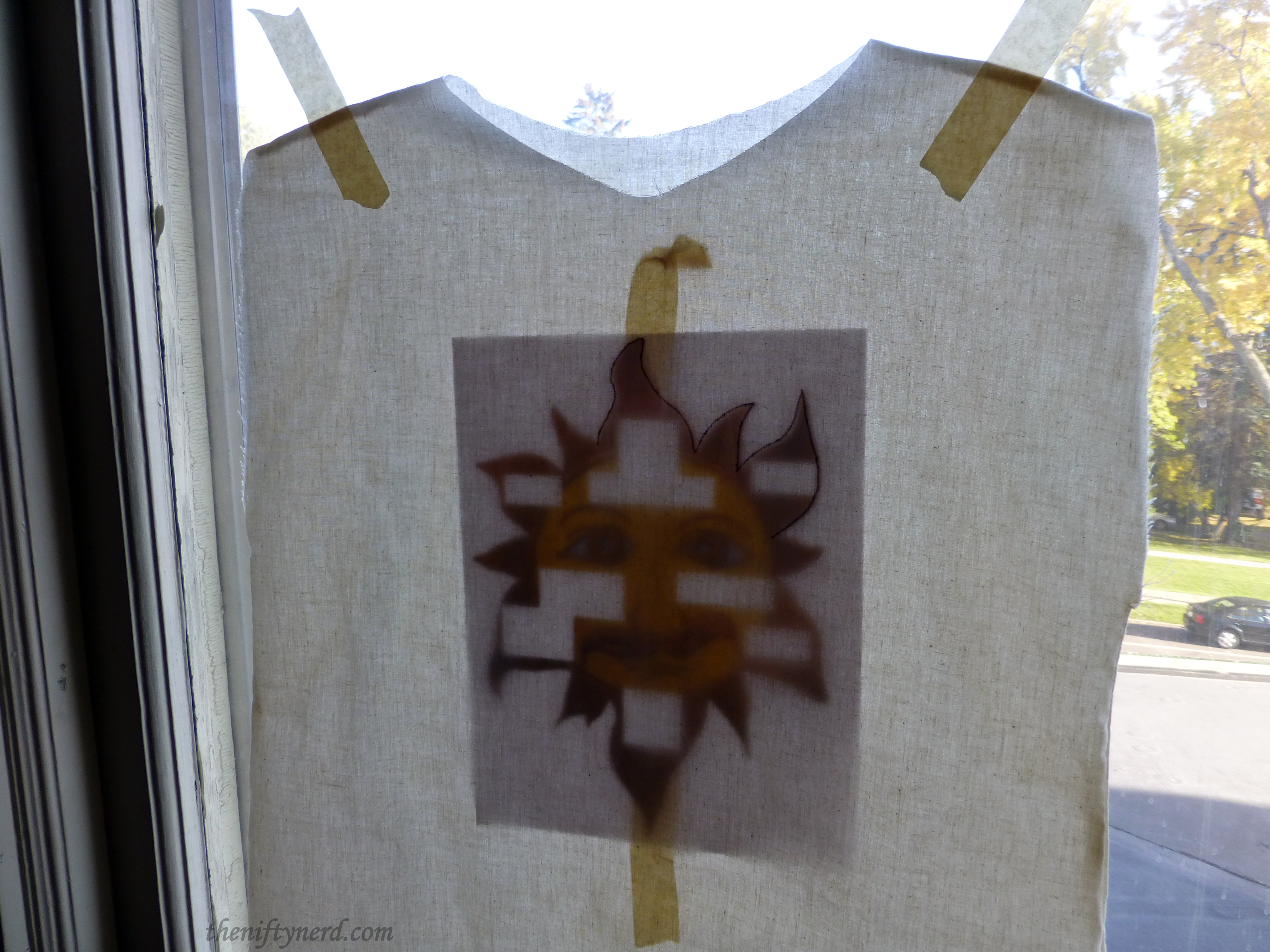 sun stencil tracing for King Arthur's tunic