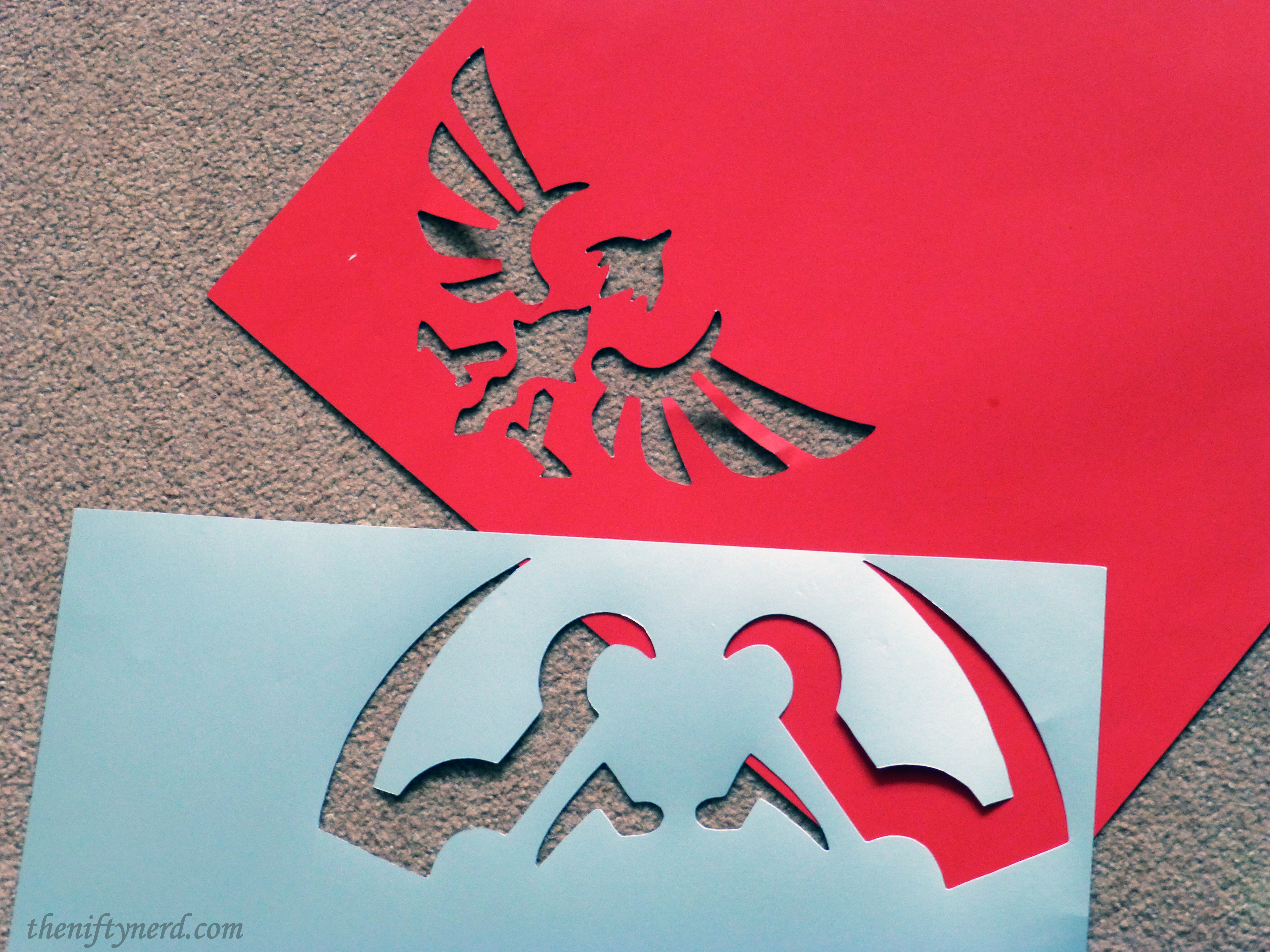 cutting out Link's shield details from posterboard
