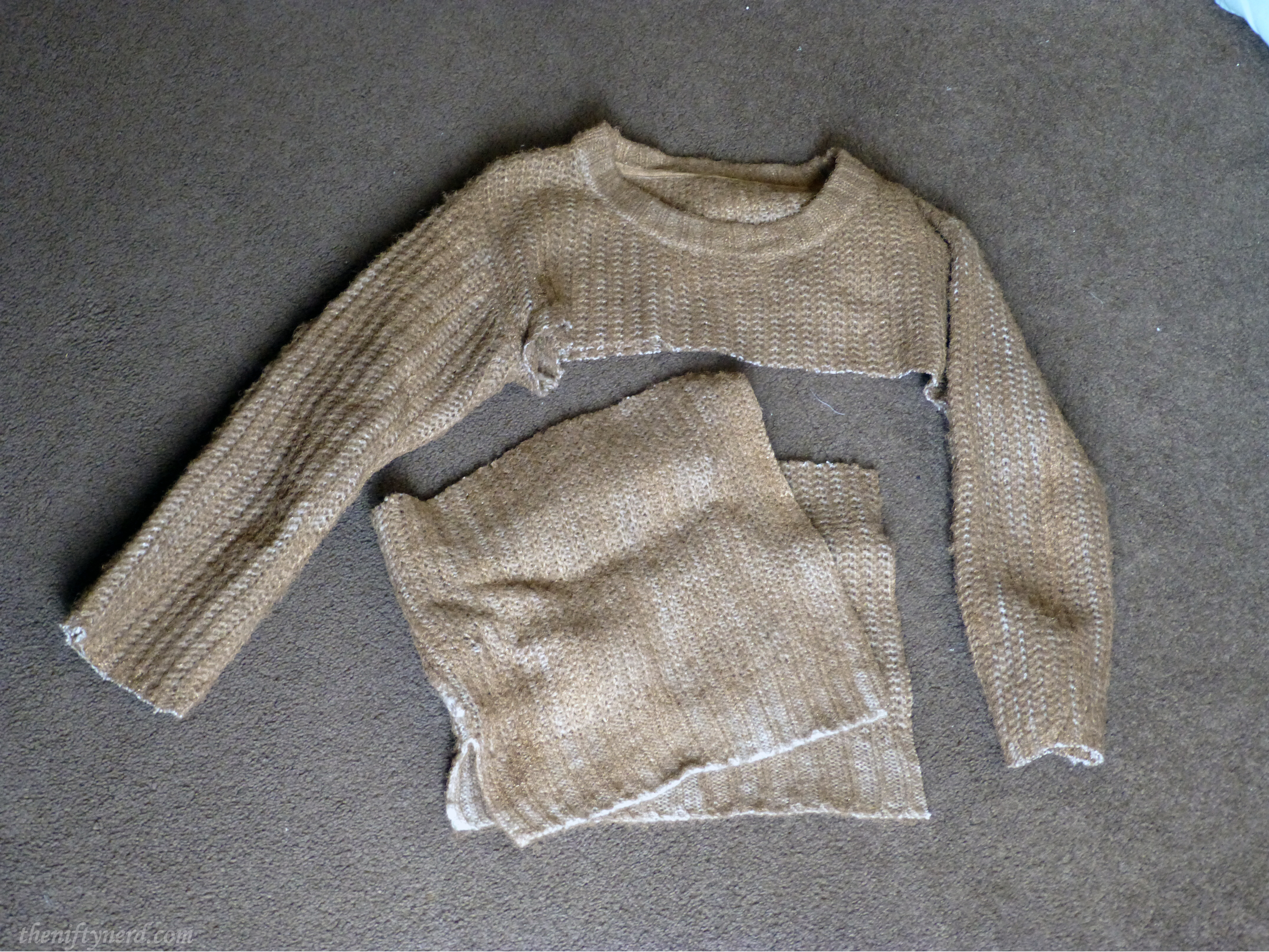 gold spray painted sweater
