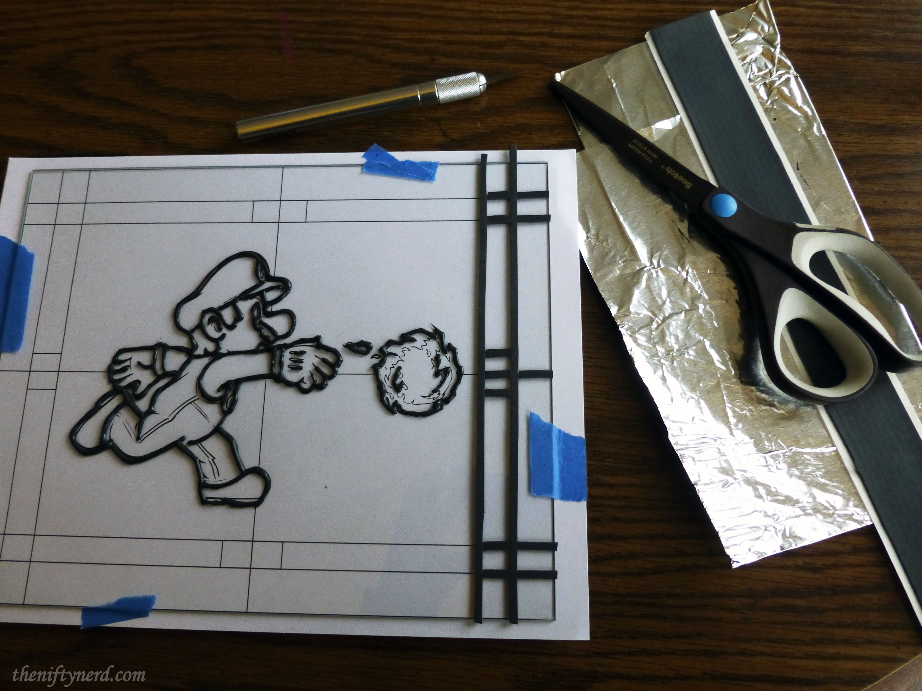 creating a super mario stained glass paine